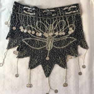 Belly dancing sequined belly waist scarf.